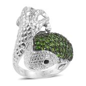 Russian Diopside, Thai Black Spinel Platinum Over Sterling Silver Fish Bypass Ring (Size 9.0) TGW 2.31 cts.