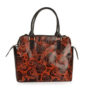 Vivid by Sukriti Handcrafted Wine Red Rose Embossed Genuine Leather RFID Tote (14x5.5x11 in) with Removable Strap (58 in)