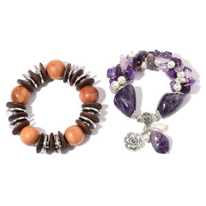 Set of 2 Amethyst, Wood, Simulated and Freshwater Pearl Silvertone Bracelets (Stretchable) TGW 400.00 cts.