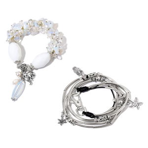 Opalite, Multi Gemstone Silvertone Necklace or Wrap Bracelet (16.00 In) and Bracelet (Stretchable) TGW 200.00 cts.