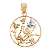 14K YG and Platinum Over Sterling Silver Butterfly Pendant without Chain (3.06 g)