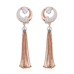 Milaan Simulated Diamond 14K RG Over and Sterling Silver Drop Earrings TGW 1.00 cts.