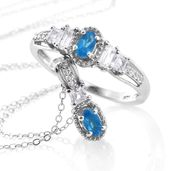 Malgache Neon Apatite, White Topaz Platinum Over Sterling Silver Ring (Size 10) and Pendant With Chain (20 in) TGW 1.25 cts.