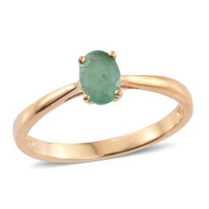 Kagem Zambian Emerald 14K YG Over Sterling Silver Solitaire Ring (Size 8.0) TGW 0.75 cts.