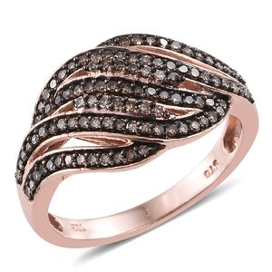 Champagne Diamond Black Rhodium & 14K RG Over Sterling Silver Ring (Size 7.0) TDiaWt 0.50 cts, TGW 0.50 cts.