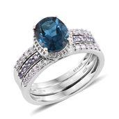 Deepak's Dazzling Deals London Blue Topaz, Tanzanite, Cambodian Zircon Platinum Over Sterling Silver Revomable Band Ring (Size 5.0) TGW 3.88 cts.