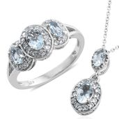 Santa Maria Aquamarine, Cambodian Zircon Platinum Over Sterling Silver Ring (Size 9) and Pendant With Chain (20 in) TGW 1.90 cts.