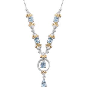 Santa Maria Aquamarine, Cambodian Zircon 14K YG and Platinum Over Sterling Silver Necklace (18 in) TGW 2.35 cts.