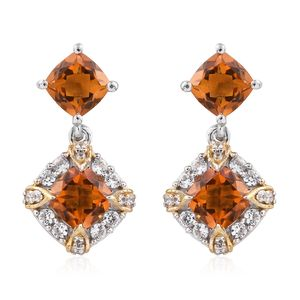 Serra Gaucha Citrine, Cambodian Zircon 14K YG and Platinum Over Sterling Silver Earrings TGW 4.46 cts.