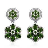 Russian Diopside Platinum Over Sterling Silver Flower Dangle Earrings TGW 3.75 cts.