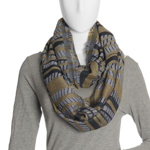 Gray, Black, and Golden Acrylic Viscose Lurex Blend Lines and Stripes Infinity Scarf (36x22 in)