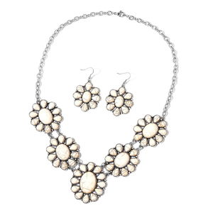 TLV White Howlite Black Oxidized Silvertone & Stainless Steel Earrings and Bib Necklace (22 in) TGW 250.00 cts.
