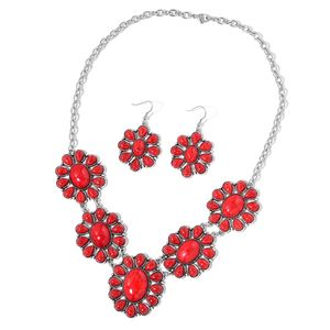 TLV Red Howlite Black Oxidized Silvertone & Stainless Steel Earrings and BIB Necklace (22 in) TGW 250.00 cts.