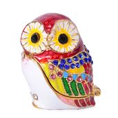 Austrian Crystal Enameled Goldtone Owl Trinket Box (1 in)