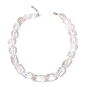 White Crystal Quartz Beads Silvertone Necklace (18 in) TGW 633.00 cts.