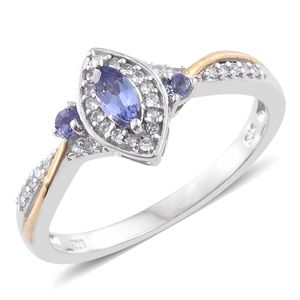 Premium AAA Tanzanite, Cambodian Zircon 14K YG and Platinum Over Sterling Silver Ring (Size 6.0) TGW 0.61 cts.