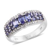 Premium AAA Tanzanite, Cambodian Zircon Platinum Over Sterling Silver Ring (Size 8.0) TGW 1.88 cts.