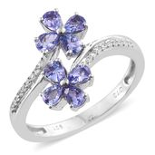 Premium AAA Tanzanite, Cambodian Zircon Platinum Over Sterling Silver Rocket Flower Ring (Size 9.0) TGW 1.59 cts.