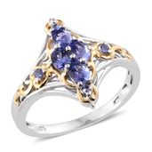 Premium AAA Tanzanite 14K YG and Platinum Over Sterling Silver Ring (Size 10.0) TGW 1.04 cts.