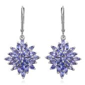 Premium AAA Tanzanite Platinum Over Sterling Silver Lever Back Earrings TGW 4.12 cts.