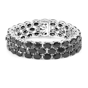 Thai Black Spinel Sterling Silver Three Row Bracelet (6.50 In) TGW 67.75 cts.