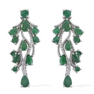 Kagem Zambian Emerald, Cambodian Zircon Platinum Over Sterling Silver Earrings TGW 5.00 cts.