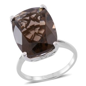 Web Exclusive Doorbuster Brazilian Smoky Quartz Sterling Silver Ring (Size 11.0) TGW 20.00 cts.