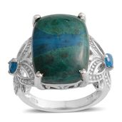 Table Mountain Shadowkite, Malgache Neon Apatite Platinum Over Sterling Silver Ring (Size 11.0) TGW 12.22 cts.