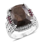 Chocolate Sapphire, Niassa Ruby, White Topaz Platinum Over Sterling Silver Cocktail Ring (Size 8.0) TGW 18.61 cts.