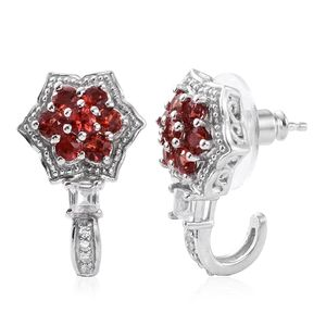 Karen's Fabulous Finds Red Sapphire, White Topaz Platinum Over Sterling Silver J-Hoop Earrings TGW 1.94 cts.