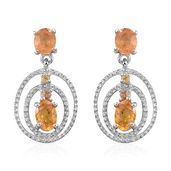 Yellow Sapphire Platinum Over Sterling Silver Earrings TGW 2.38 cts.