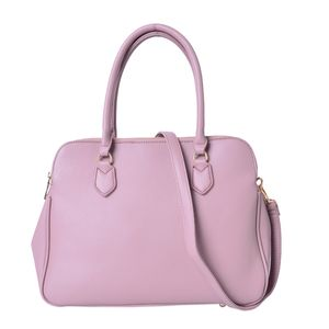 Mauve Faux Leather Triple Compartment Shoulder Bag with Removable Strap and Standing Studs (14x6x9 in)
