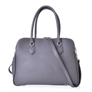 Gray Faux Leather Triple Compartment Shoulder Bag with Removable Strap and Standing Studs (14x6x9 in)