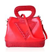Red Crocodile Pattern Faux Leather Tote Bag with Standing Studs, Removable Strap, and Half Moon Handle (14.5x7.5x11.5 in)