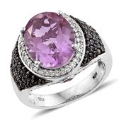 Pink Moscato Quartz, Multi Gemstone Black Rhodium & Platinum Over Sterling Silver Ring (Size 10.0) TGW 11.87 cts.