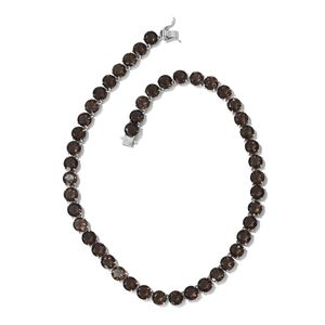 Brazilian Smoky Quartz Beads Platinum Over Sterling Silver Necklace (18 in) TGW 118.01 cts.