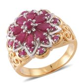 Burmese Ruby 14K YG Over Sterling Silver Cocktail Cluster Ring (Size 10.0) TGW 2.71 cts.