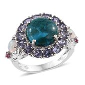 Table Mountain Shadowkite, Multi Gemstone Platinum Over Sterling Silver Ring (Size 9.0) TGW 10.09 cts.