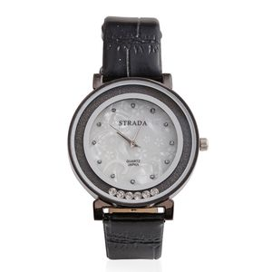 STRADA White Austrian Crystal Japanese Movement Watch with Black Strap and Stainless Steel Back.