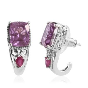 Pink Moscato Quartz, Niassa Ruby J-Hoop Earrings in Platinum Over Sterling Silver 7.40 ct tw