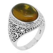 Bali Legacy Collection Amber Sterling Silver Ring (Size 6.0)