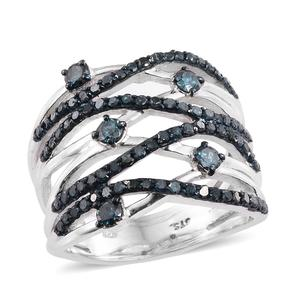 Blue Diamond (IR) Blue Rhodium & Platinum Over Sterling Silver Ring (Size 10.0) TDiaWt 1.50 cts, TGW 1.50 cts.