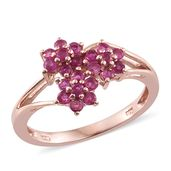 Burmese Ruby 14K RG Over Sterling Silver Ring (Size 9.0) TGW 1.05 cts.
