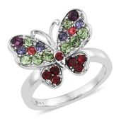 Stainless Steel Butterfly Ring (Size 7.0) Made with SWAROVSKI Multi Color Crystal TGW 1.08 cts.