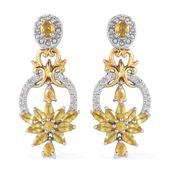 Yellow Sapphire, Cambodian White Zircon 14K YG Over and Sterling Silver Dangle Earrings TGW 3.93 cts.
