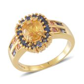 Yellow Sapphire, Multi Sapphire 14K YG Over Sterling Silver Ring (Size 6.0) TGW 2.84 cts.
