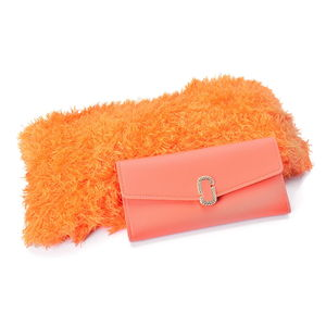 Orange Faux Leather Trifold Wallet (7.2x3.4 in) and Orange 100% Acrylic Magic Scarf (One Size)