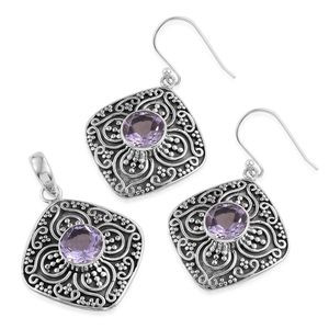 Artisan Crafted Rose De France Amethyst Sterling Silver Floral Engraved Earrings and Pendant without Chain TGW 7.92 cts.