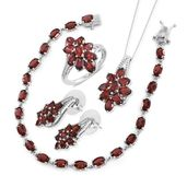 Mozambique Garnet Platinum Over Sterling Silver Split Floral Bracelet (7.50 in), Earrings, Ring (Size 7) and Pendant With Chain (18.00 In) TGW 26.10 cts.