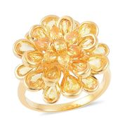 Yellow Sapphire 14K YG Over Sterling Silver 3D Floral Ring (Size 10.0) TGW 7.25 cts.